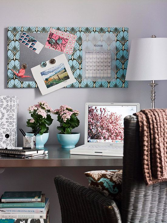 Home Office Storage on a Dime:  Take Note  Don't spend money on a corkboard -- instead turn an artist's canvas into a practical memo board. For a magnetic surface, attach a sheet-metal square. Hang it above your desk to keep important items visible.
