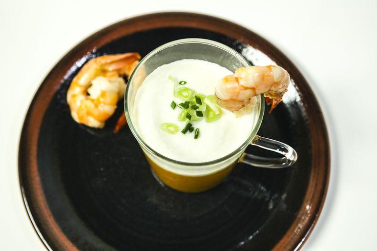 Gazpacho di Melone, schiuma di gorgonzola e gamberi