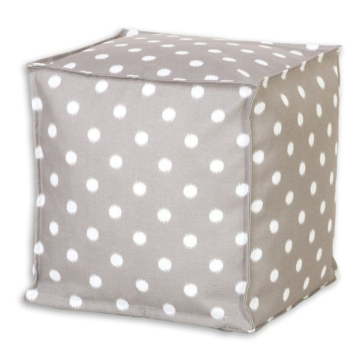Brite Ideas Decorating Ikat Dots Gray Seamed Topstitched Zippered Beads Footstool - BP13S8027