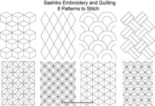 Set de 8 free patterns à imprimer. Sashiko is a form of Japanese hand embroidery using the running stitch to create a patterned background. The Japanese word Sashiko means
