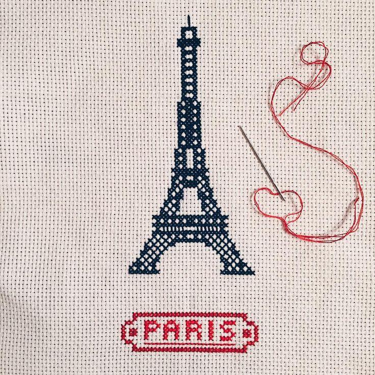 lia-s-p: #paris #eiffeltower #crossstitch #handmadewithlove © Lia S-P