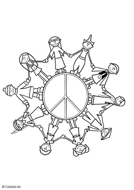 Children of the World colouring page