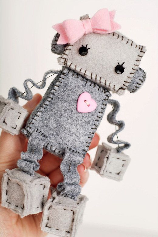 Sweet Plush Robot Girl in Gray with Pink Heart and by GinnyPenny