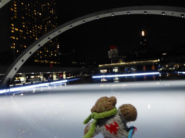 Mini Bear goes ice skating at Toronto's Nathan Phillips Square in January, 2013.