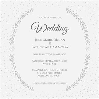 Stylized Laurels printable invitation template. Customize, add text and photos.  Print, download, send online or order printed!