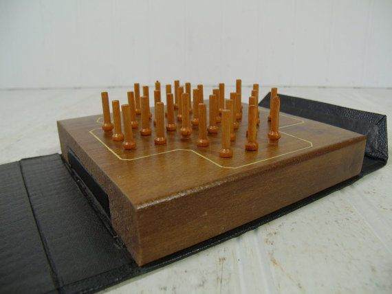 Peg Solitaire Game in Book Travel Case with Wooden Board &