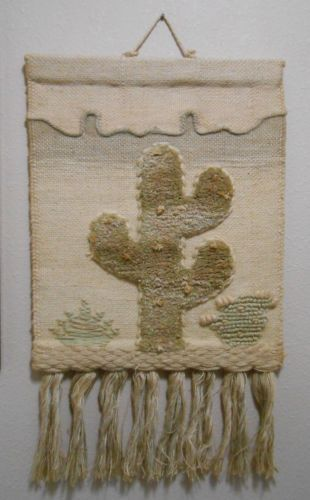 Textile-art-wall-hanging-cactus-burlap-made-India-tapestry-picture-desert-scene