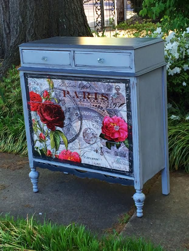 Paint & decoupage dresser - so pretty!
