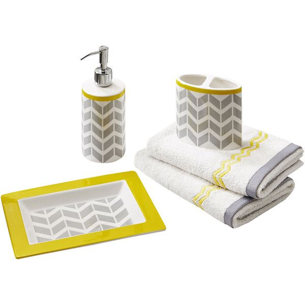 Geometric Bath Accessory Set  1 025 ZAR    liked on Polyvore featuring  home  bed   bath  bath  bath accessories  yellow bathroom accessories   yellow soap. Best 25  Yellow bathroom accessories ideas on Pinterest   Yellow