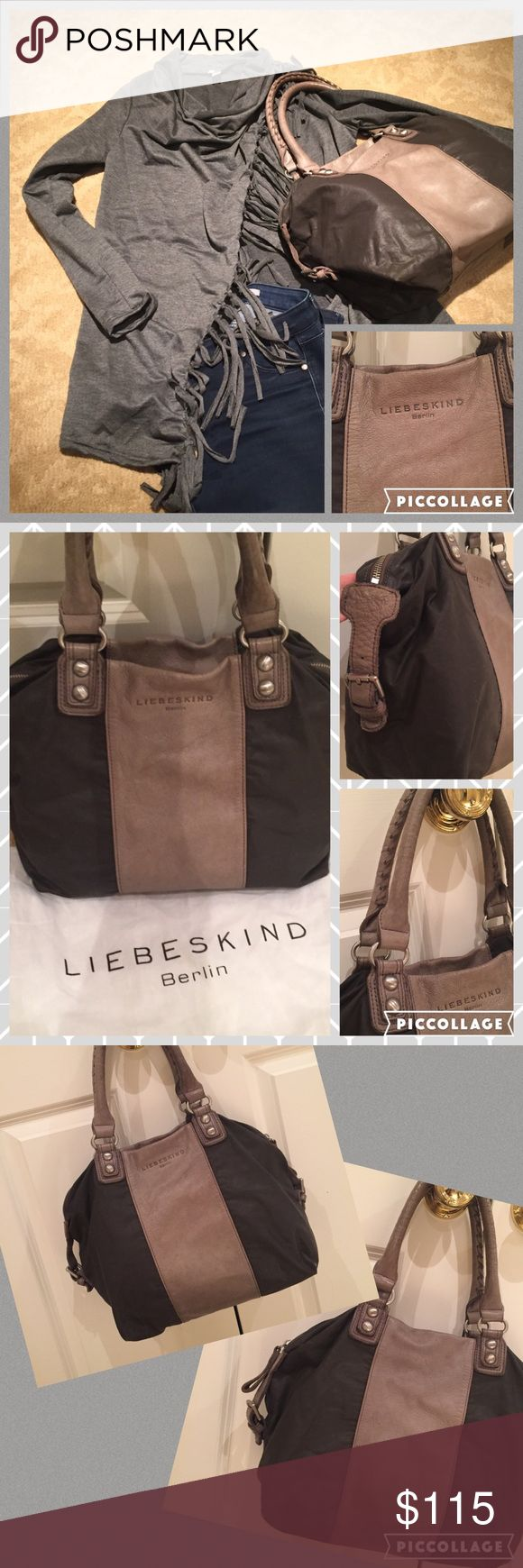 """💝Liebskind- Berlin pocketbook💝 Gray Liebskind- Berlin pocketbook. Center of the bag and straps are a gray soft cows leather. The remainder of the bag is a cotton type fabric. Gorgeous braided detail on the straps, cool silver details, and leather buckles on sides. 8.5"""" shoulder drop and bag measures approx 15x12. Gentle ware. Comes w dust bag. Liebeskind Bags Shoulder Bags"""