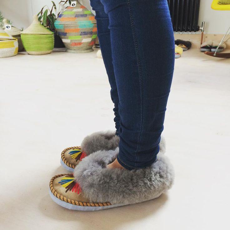 Traditional handmade sheepskin slippers @thesmallhome