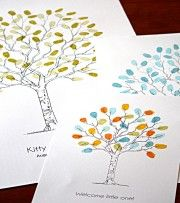 Small medium & large fingerprint guest book trees