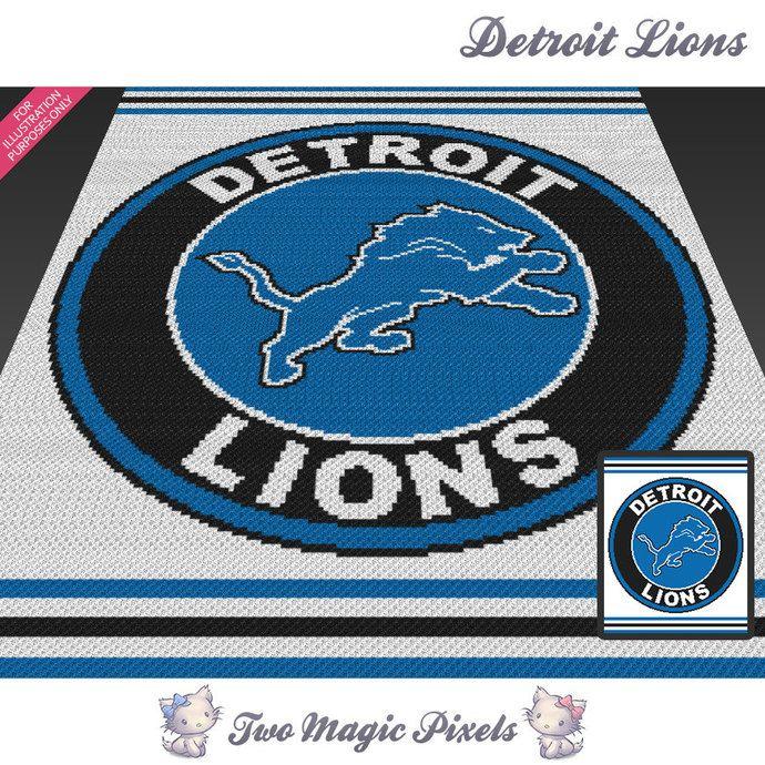 Detroit Lions c2c graph crochet pattern; instant PDF download; bed blanket…