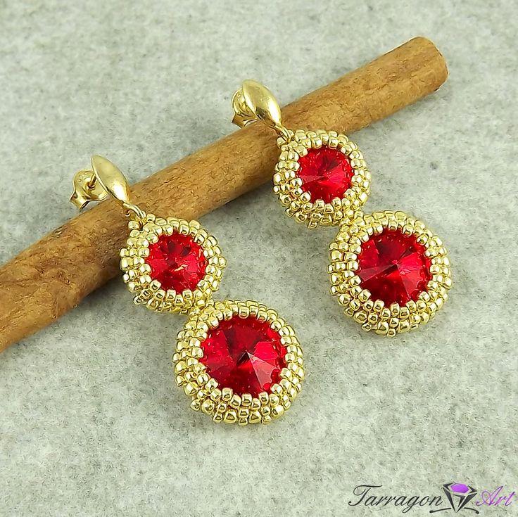 Kolczyki Beaded Swarovski Elements - Ruby & Starlight - Beaded / Kolczyki - Tarragon Art - stylowa biżuteria artystyczna