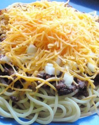 Cincinnati Three-Way with cheese. This recipe was popular during the Great Depression. MY FAVORITE!