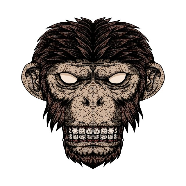 Monkey Head Dot Vector Illustration Animal Animals Ape Png And