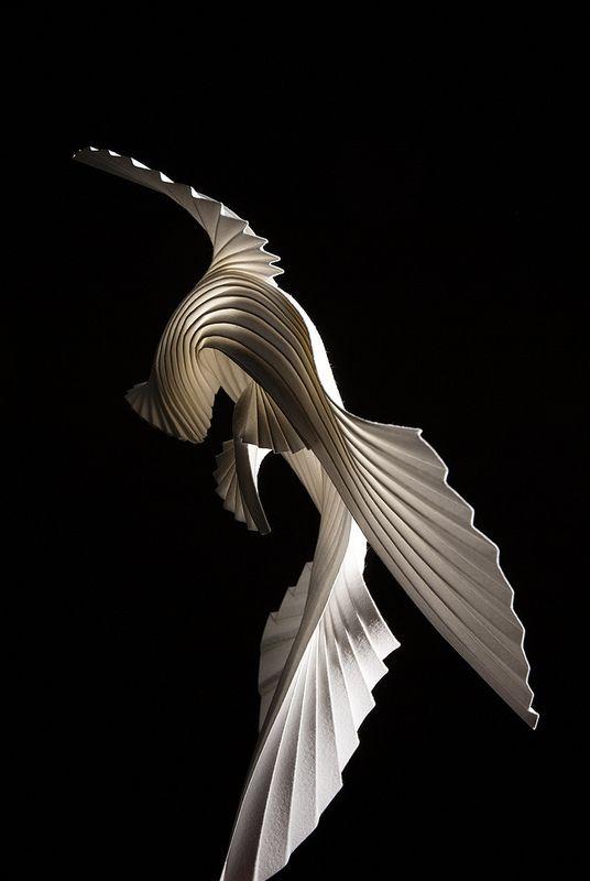 paper bird on black