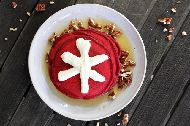 Who doesn't love anything Red Velvet?  Check out this red velvet pancake recipe.  Shape into a heart for a special breakfast.