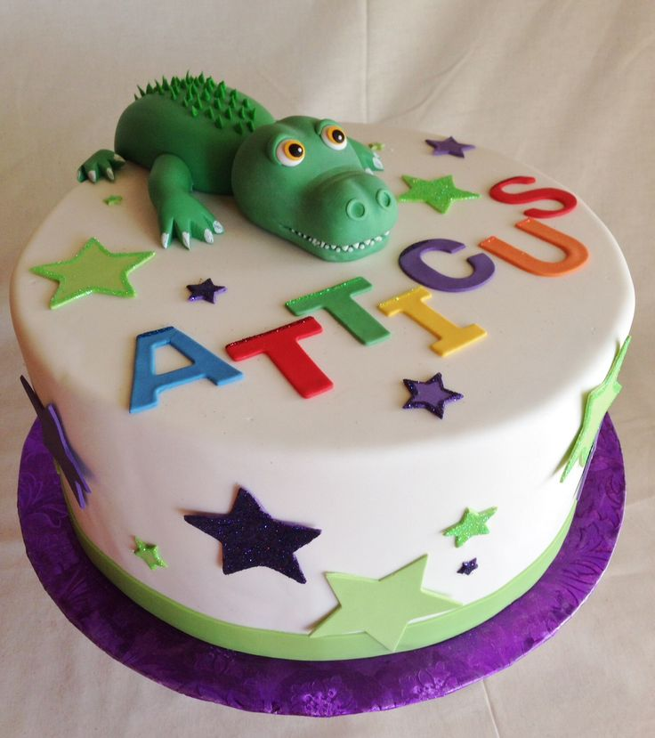 Birthday cake | kid's cake | custom topper | alligator | crocodile | stars |