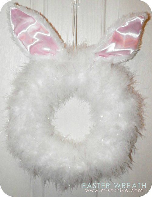 DIY Easter Bunny Wreath How-To ~made using a Styrofoam circle, Bunny ears
