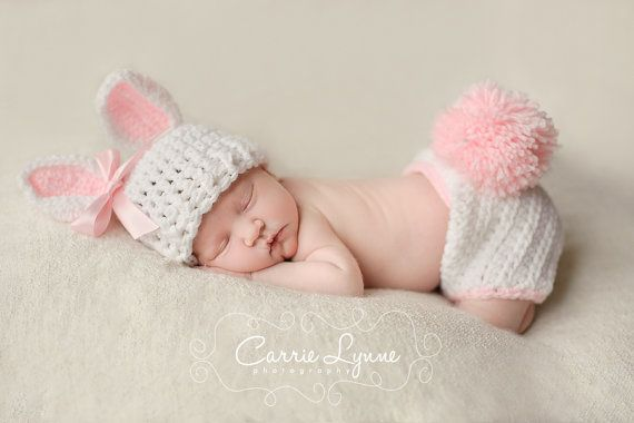 Newborn Bunny Hat, Bunny Diaper Cover Set,  Newborn Photo Prop, Newborn Easter, Infant Bunny Hat, Pink And White Hat, Crochet Bunny Hat Yes.