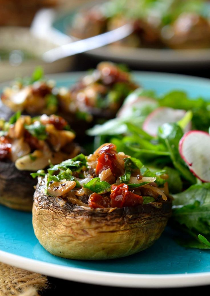 Vegan stuffed mushrooms are easy to make and great served as finger food, a starter or a light main dish when paired with a fresh salad and crusty bread.
