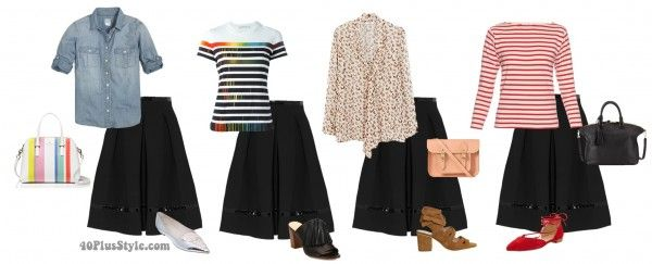 black skirt casual looks tie up flats stripes   40plusstyle.com