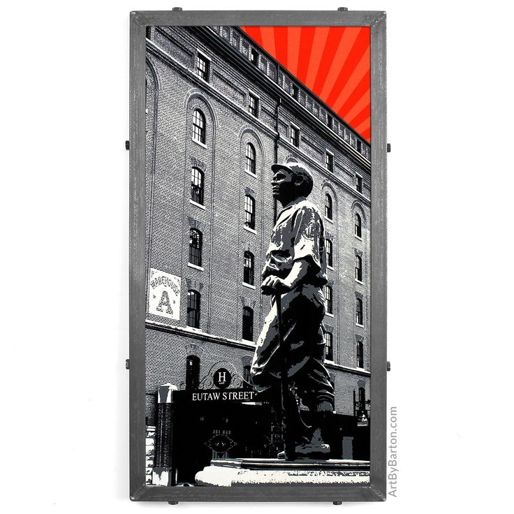 Maryland Map Coordinates%0A Camden Yards w  Babe Ruth Statue  Baltimore  MD  Framed Silkscreen Print by