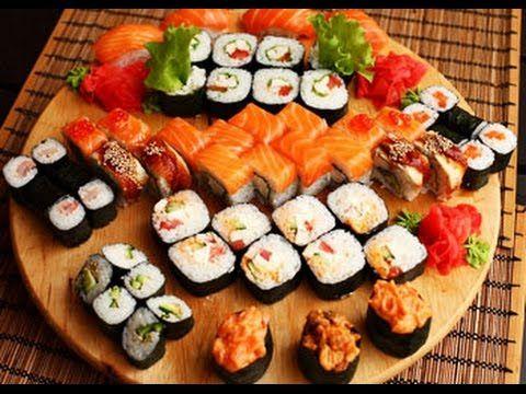 Как приготовить суши в домашних условиях Роллы с лососем и японским омле...