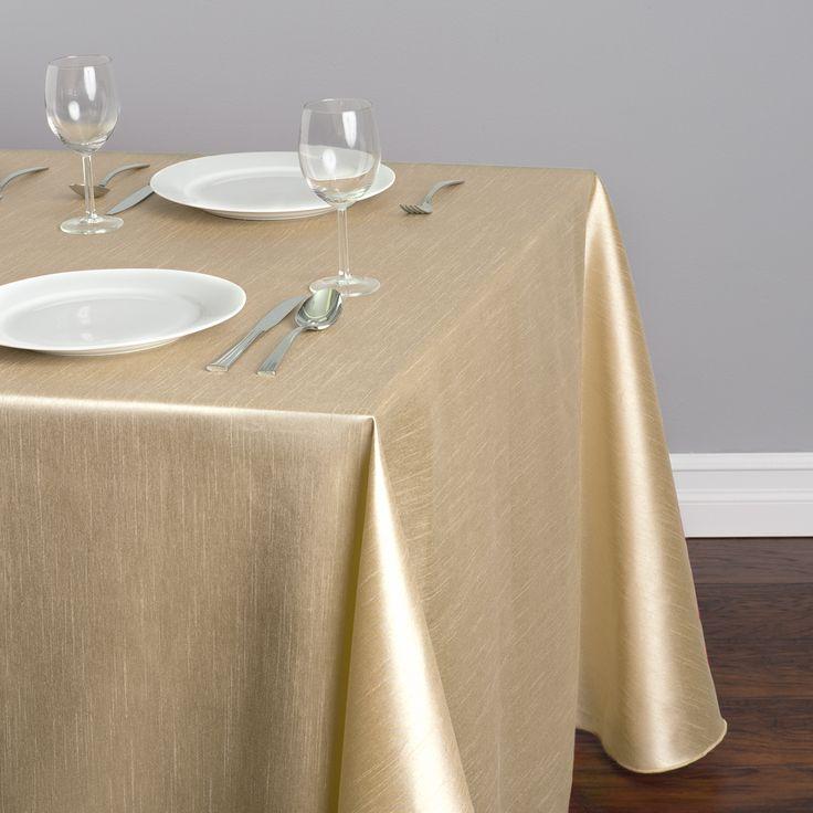 90 X 156 In Rectangular Shantung Silk Tablecloth Beige