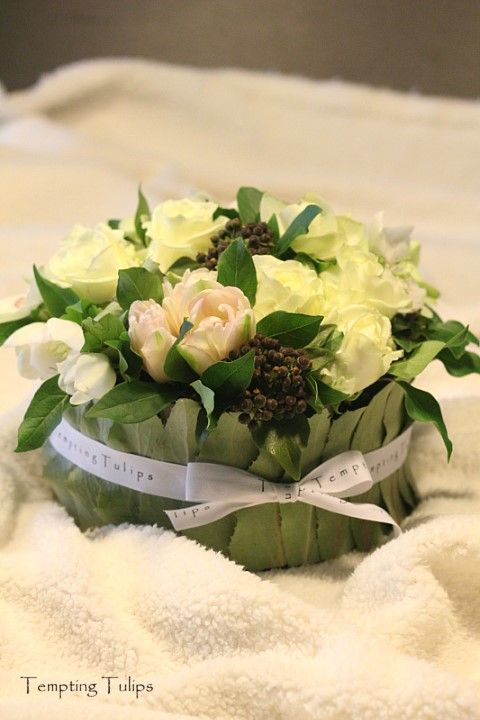 {Covered Bowl} Flower Arrangement by Tempting Tulips - White and Pale Pink Styling