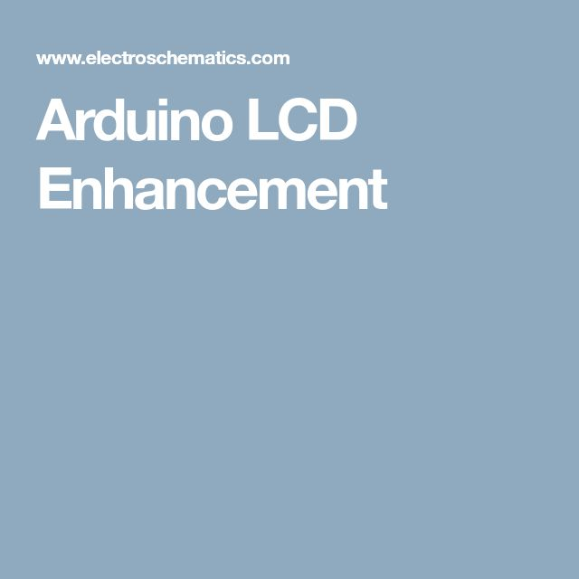 Arduino LCD Enhancement