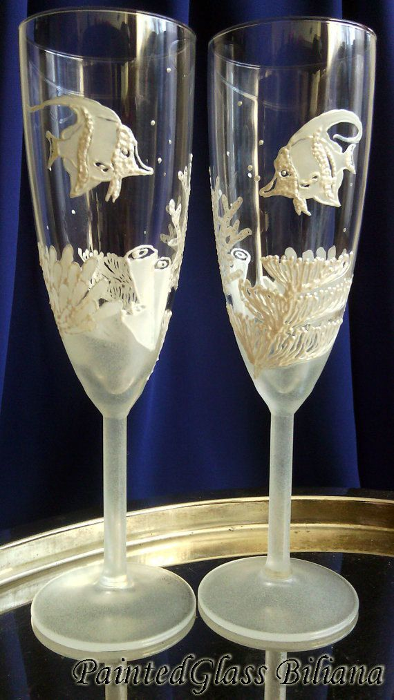 Coral reef Wedding Glasses Champagne Flutes Set of 2 Beach Sea wedding theme by PaintedGlassBiliana on Etsy