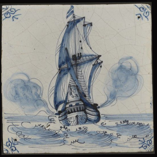 Wall tile, Harlingen, Netherlands, 1650-1700, tin-glazed earthenware with painted decoration in blue with manganese outline, a ship
