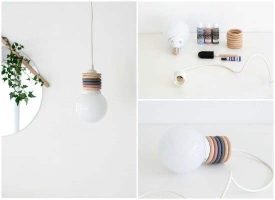 Sometimes it does not take much to create a pretty DIY lamp ... Indeed, with some rings and a little paint, you can create a nice suspension that will be p