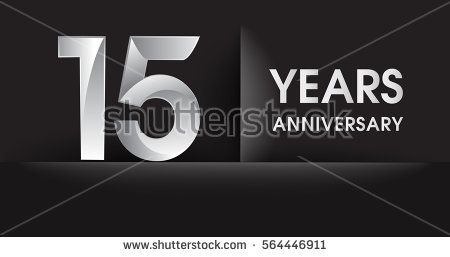 fifteen years Anniversary celebration logo, flat design isolated on black background, vector elements for banner, invitation card for celebrating 15th birthday party