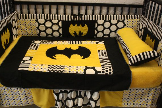 3 piece Black Chevron Batman Crib bedding by bedbugscreations, $350.00