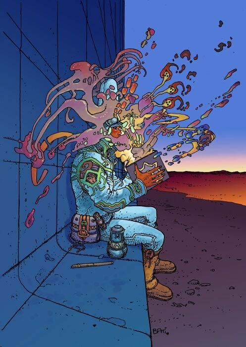 """Don't you just love when this happens, when you open a book?"" -- John Kellden  Image: Moebius:"