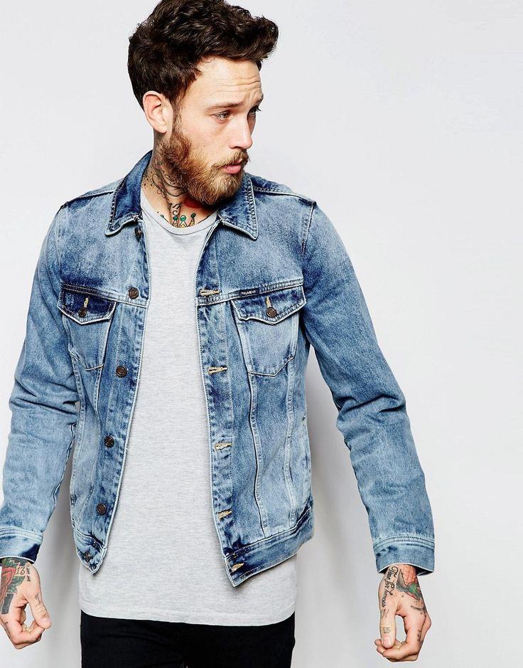 Super lækre Pull&Bear Denim Jacket In Acid Wash - Dark blue Pull&Bear Denim Jakker til Herrer til hverdag og fest