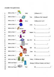 English Worksheet Clothes Whose