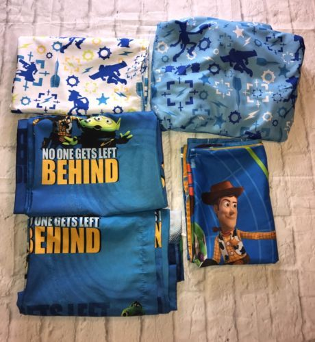 Disney-Pixar-Toy-Story-3-Piece-Toddler-Bed-Sheet-Set-With-Curtains-Gift