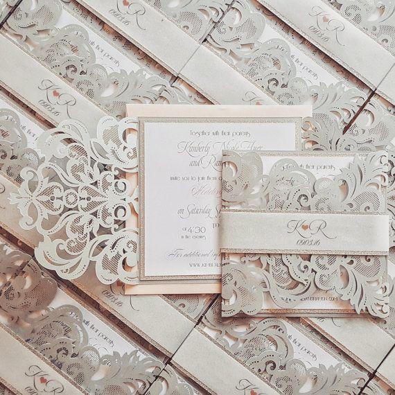 Silver laser cut wedding invitation bespoke  by DesignedWithAmore
