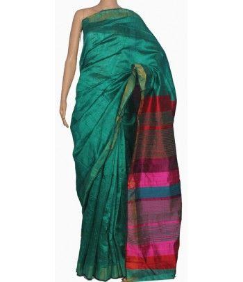 Green Handloom Bhagalpur Tussar Dupion Silk Saree