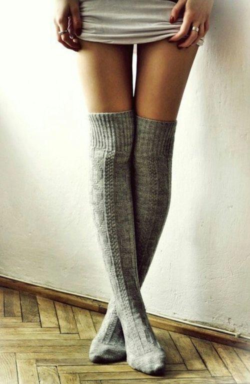 cozy gray knit knee socks.