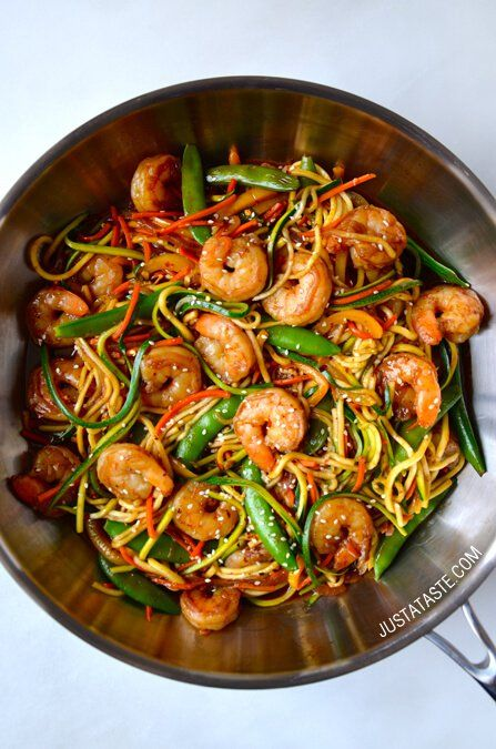 Asian Zucchini Noodle Stir-Fry with Shrimp recipe on justataste.com