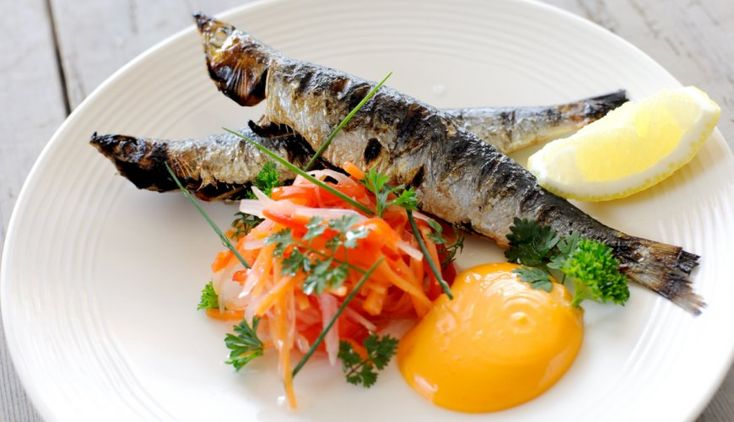 Grilled Sardines with Pickled Vegetables & Smoked Paprika Mayonnaise. Nathan Outlaw recipe