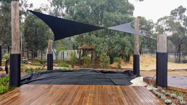 Hurstbridge Community Centre Playspace where we utilised 'log' posts and a Australian hardwood deck to extend to the sandpit.