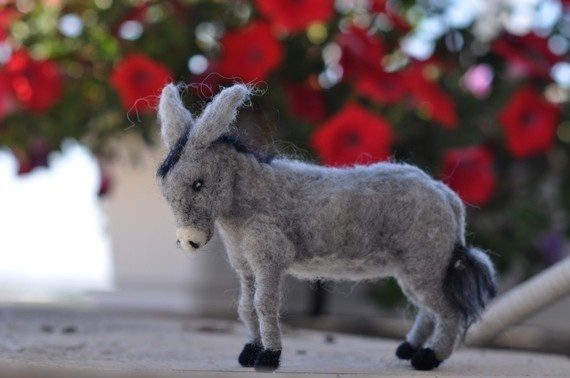 Needle felted-Nativity Set-Nativity-Waldorf- donkey-soft sculpture-needle felt by Daria Lvovsky