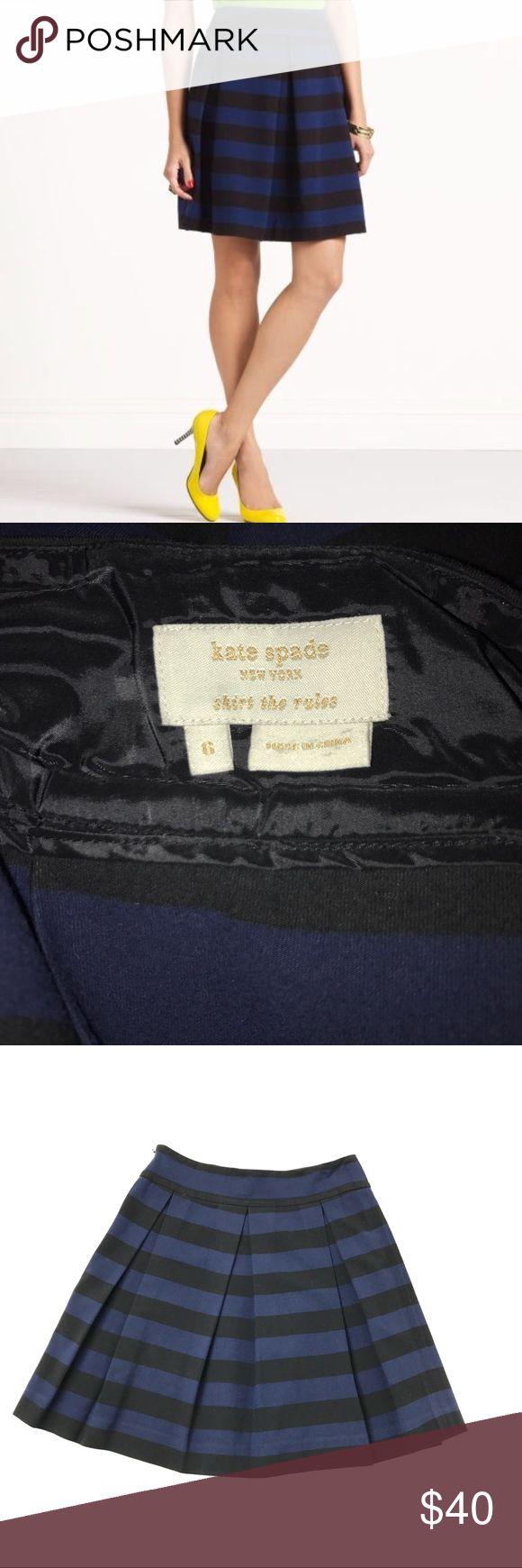 "Kate Spade Striped A Line Skirt Black Blue Size 6 Kate Spade 'Skirt The Rules' Black & Blue Striped A Line Skirt Size 6  Waist: 15""  Length: 20""  Condition: Excellent pre-owned condition. kate spade Skirts A-Line or Full"
