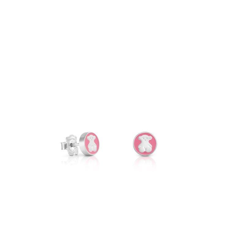 Srebrne kolczyki Tous Spot z różowym szkliwem